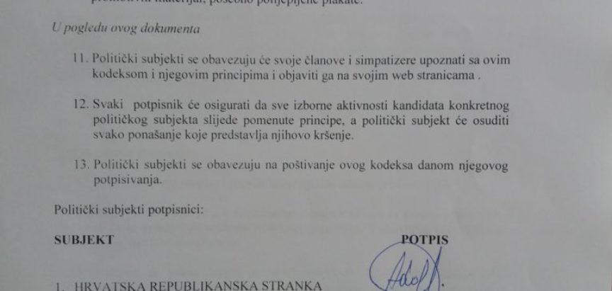 U Prozoru potpisan Izborni etički kodeks o ponašanju političkih subjekata na Lokalnim izborima 2020.