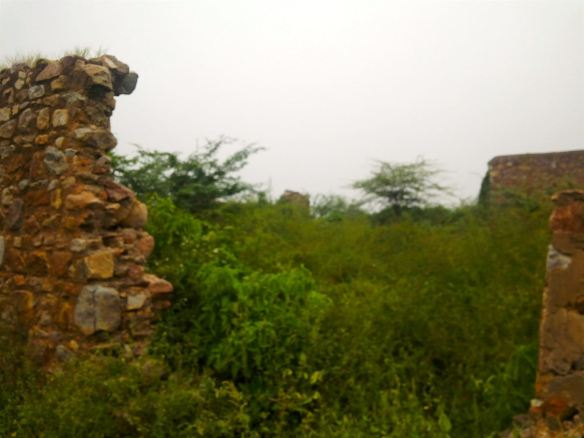 The ruins of houses near the tomb