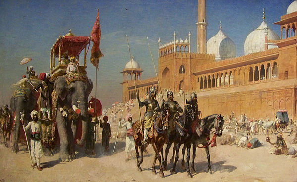 600px-Great_Mogul_And_His_Court_Returning_From_The_Great_Mosque_At_Delhi_India_-_Oil_Painting_by_American_Artist_Edwin_Lord_Weeks
