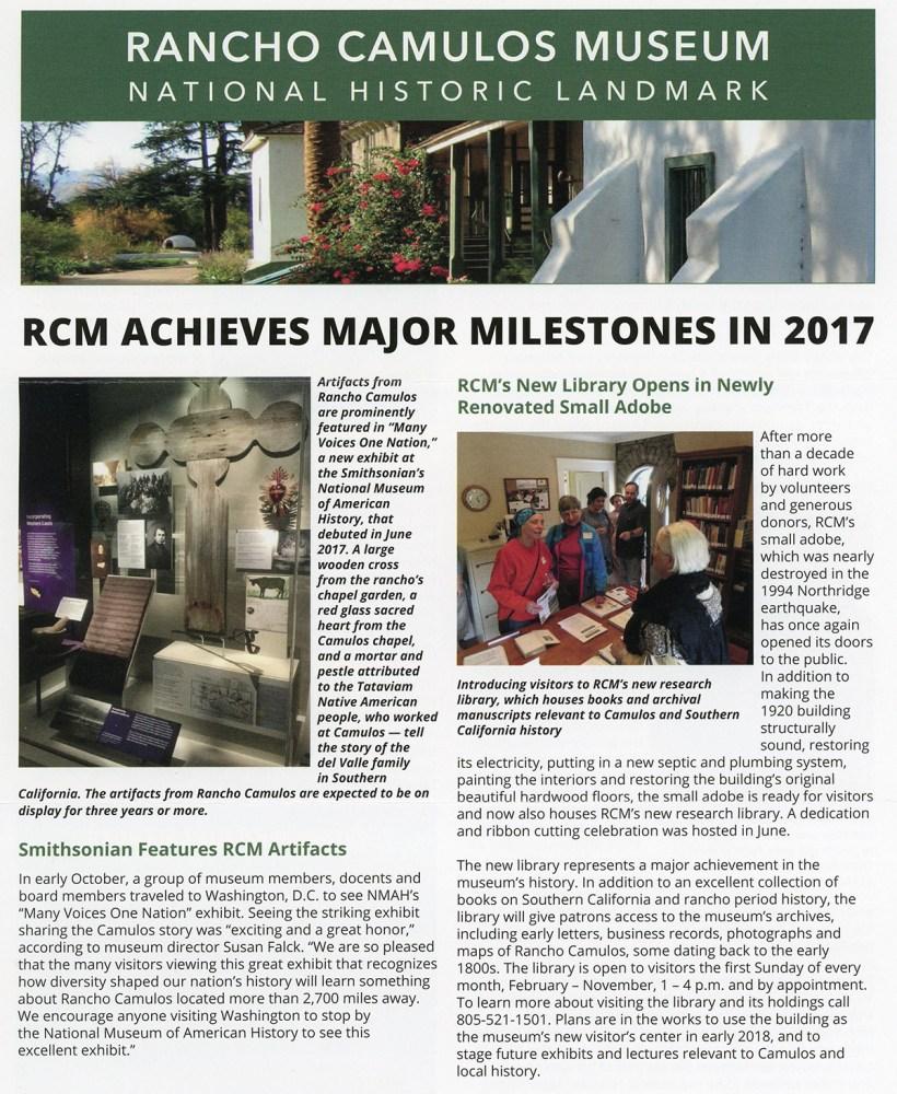 Milestones From 2017 Into 2018: Rancho Camulos Museum Achieves Major Milestones