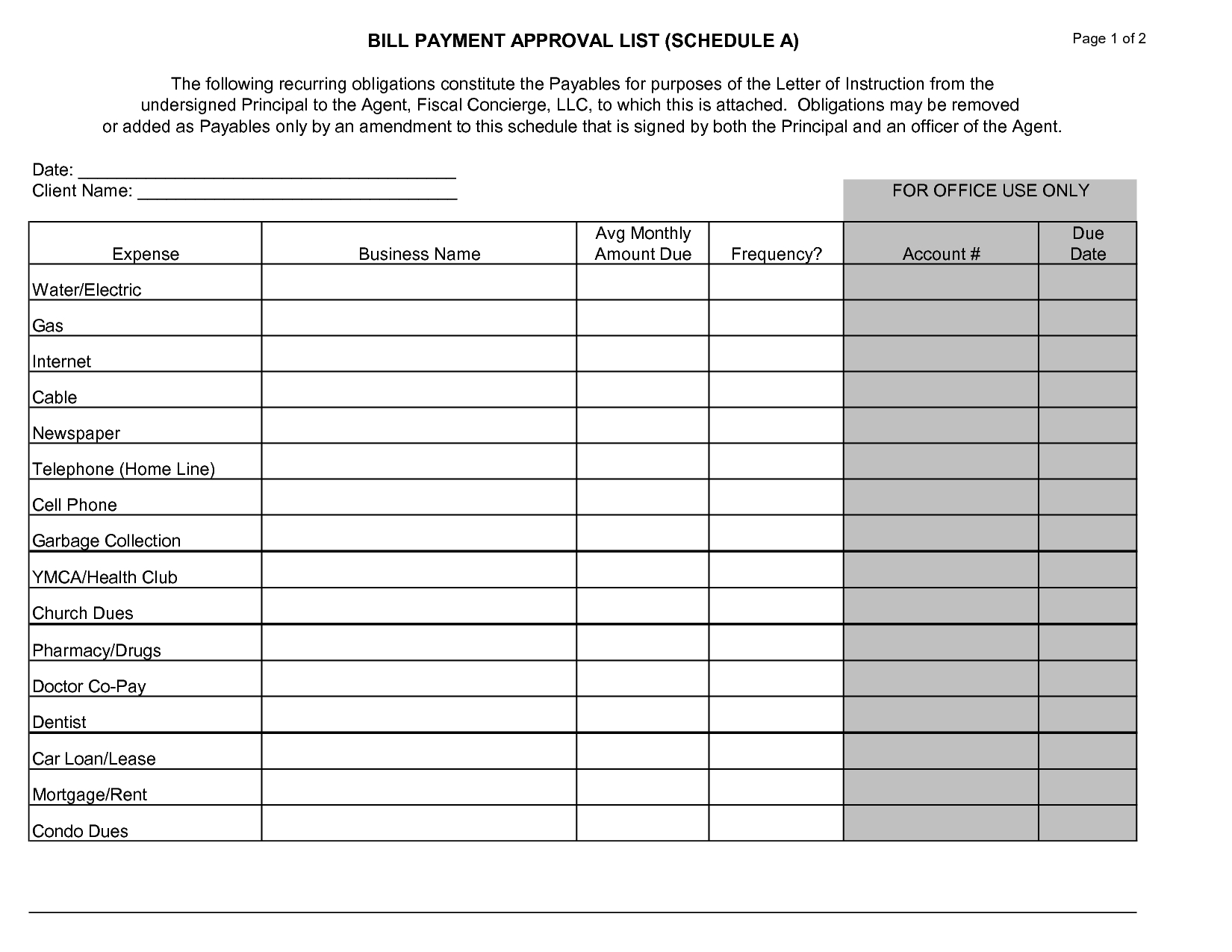 Bill Paying Worksheet Template