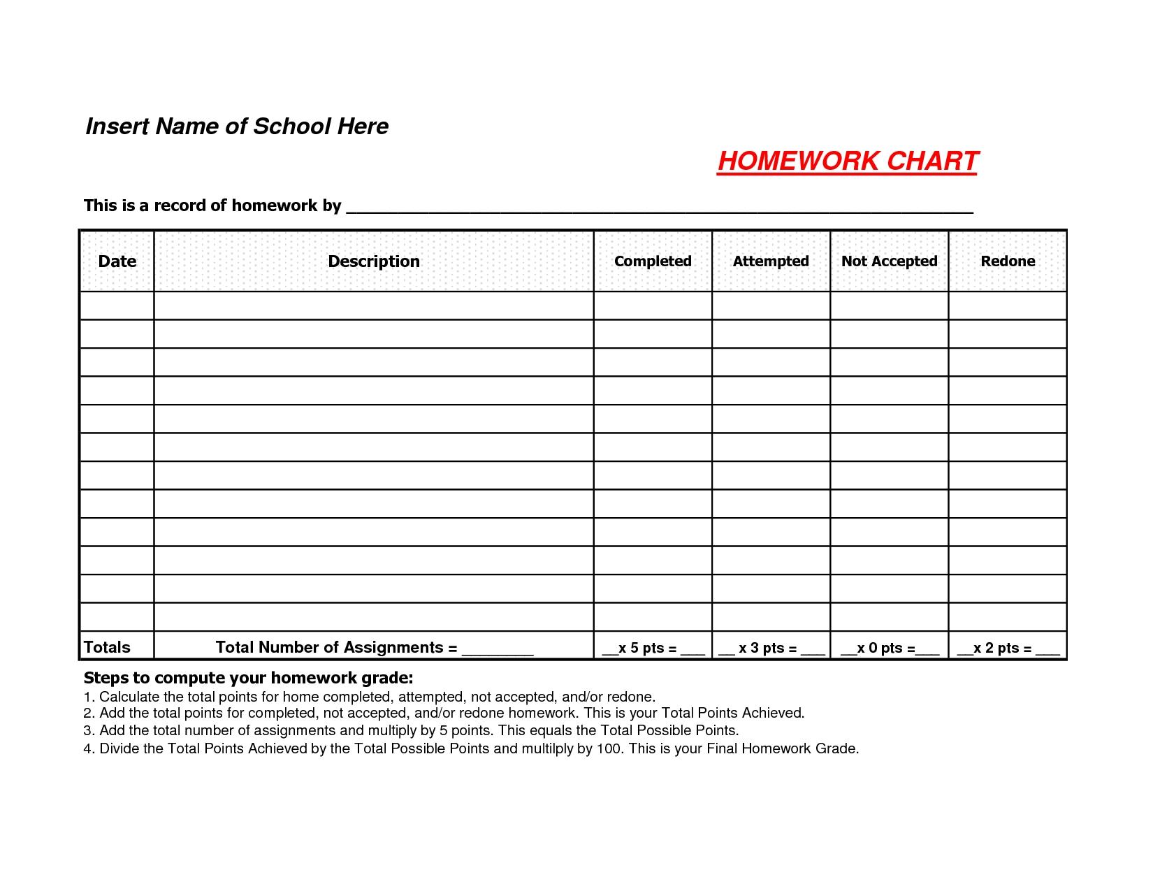 1st Grade Homework Chart Templates Template Calendar Design