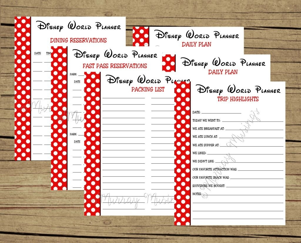 Disney World Printable Planning Sheets Template Calendar Design