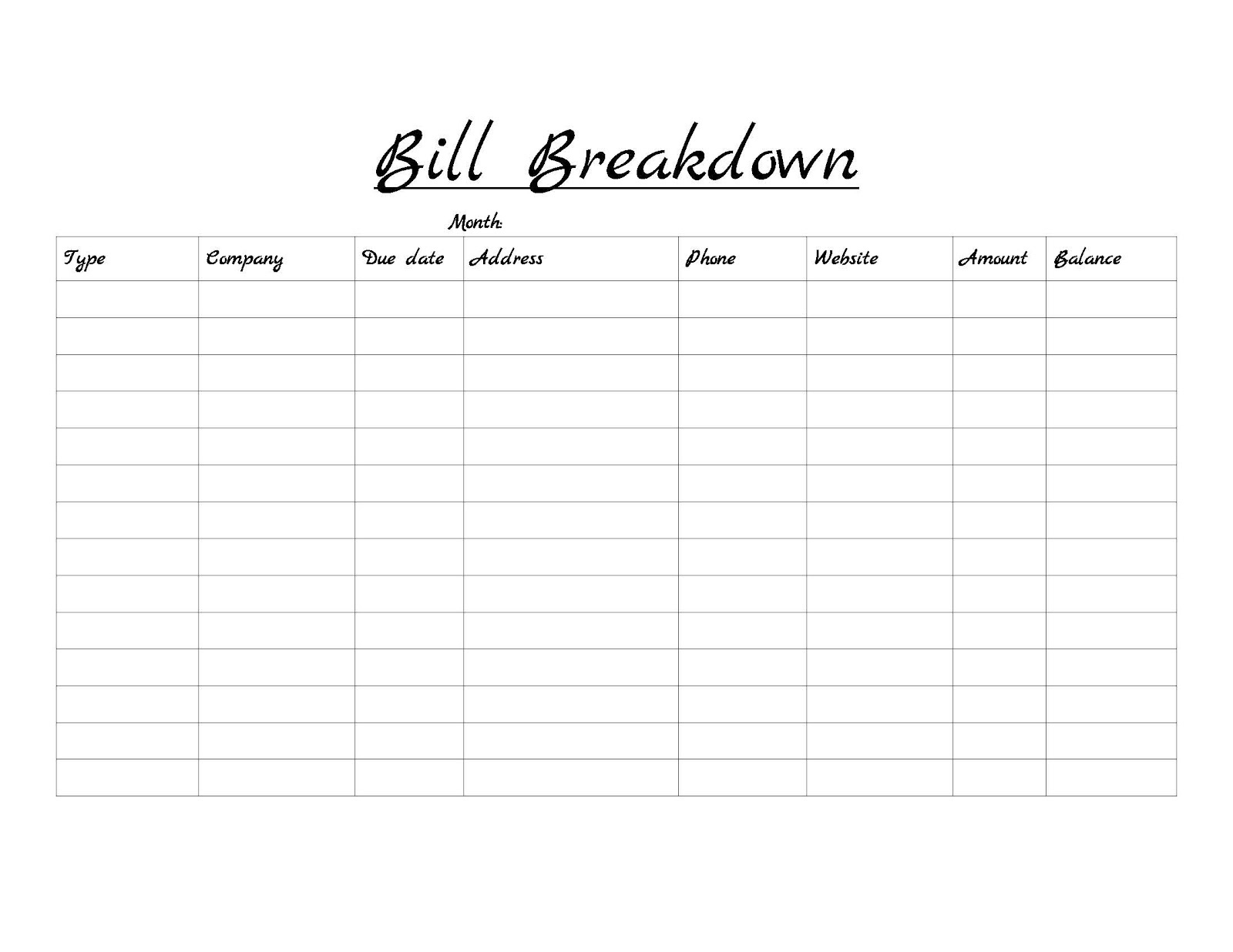 Blank Monthly Bill Payment Worksheet Template Calendar