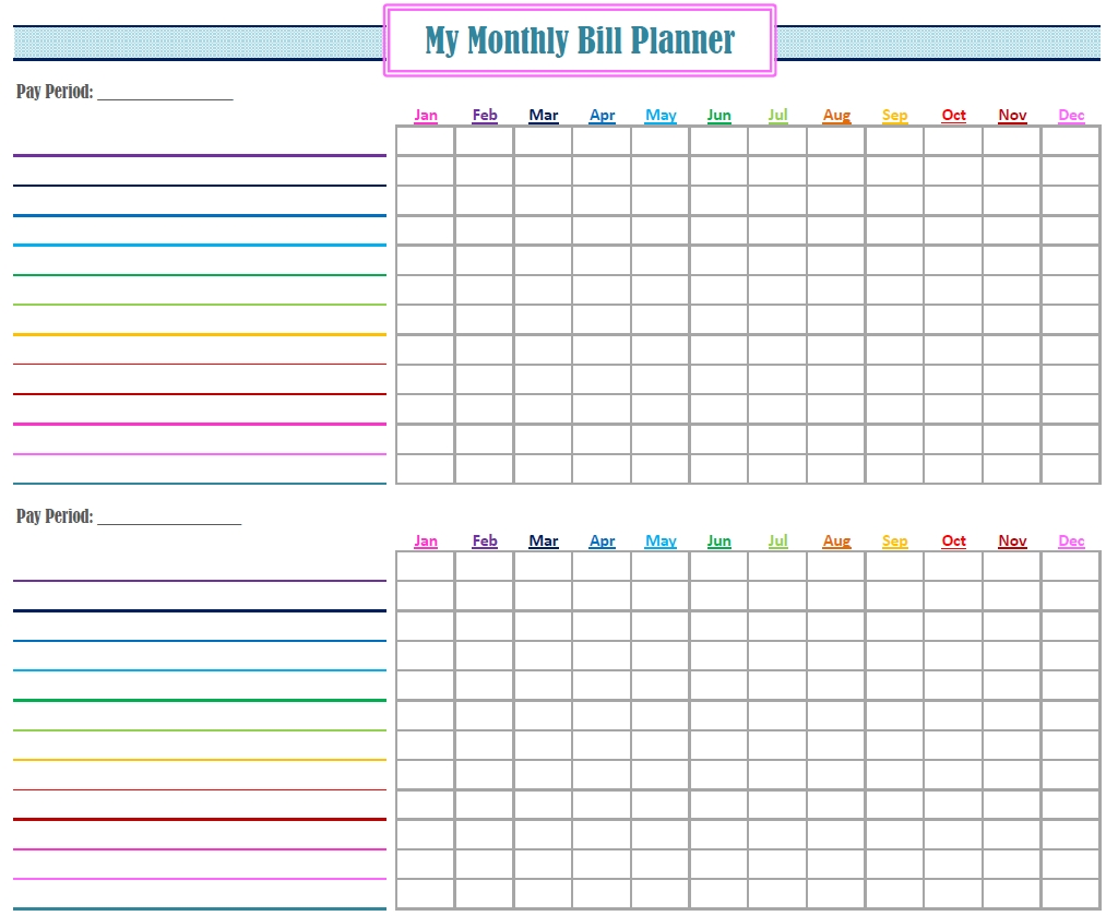 Free Printable Monthly Bill Tracker Template Calendar Design