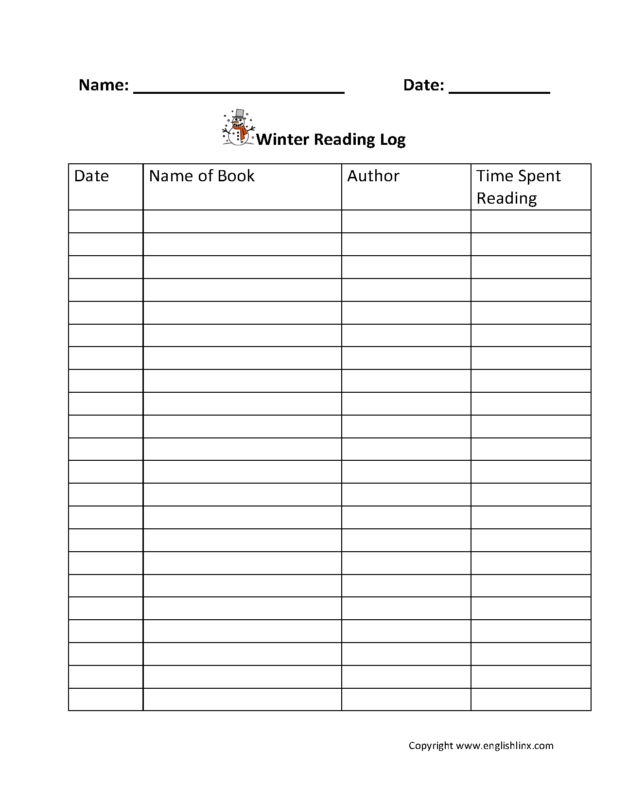 4th Grade Reading Log Printable Template Calendar Design
