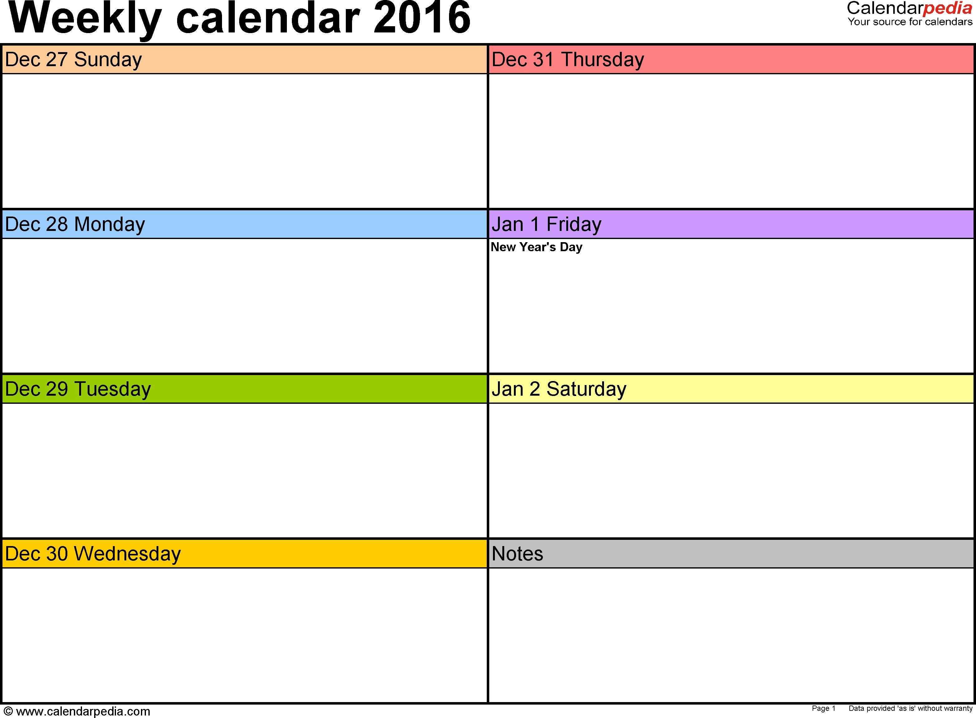 7 Days Weekly Planner Word Template Template Calendar Design