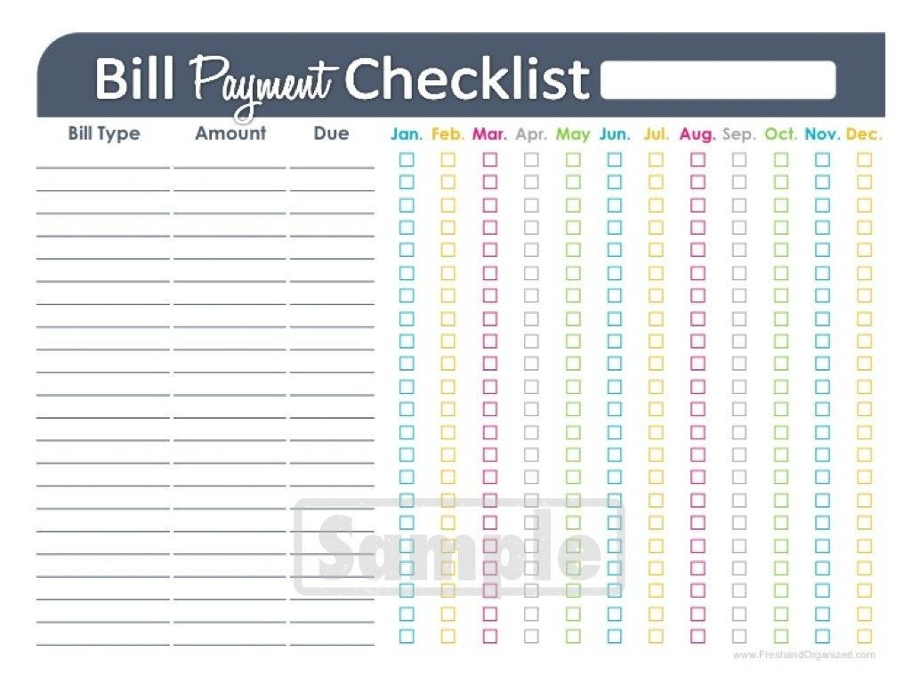 Fillable Monthly Bill Payment Template Template Calendar