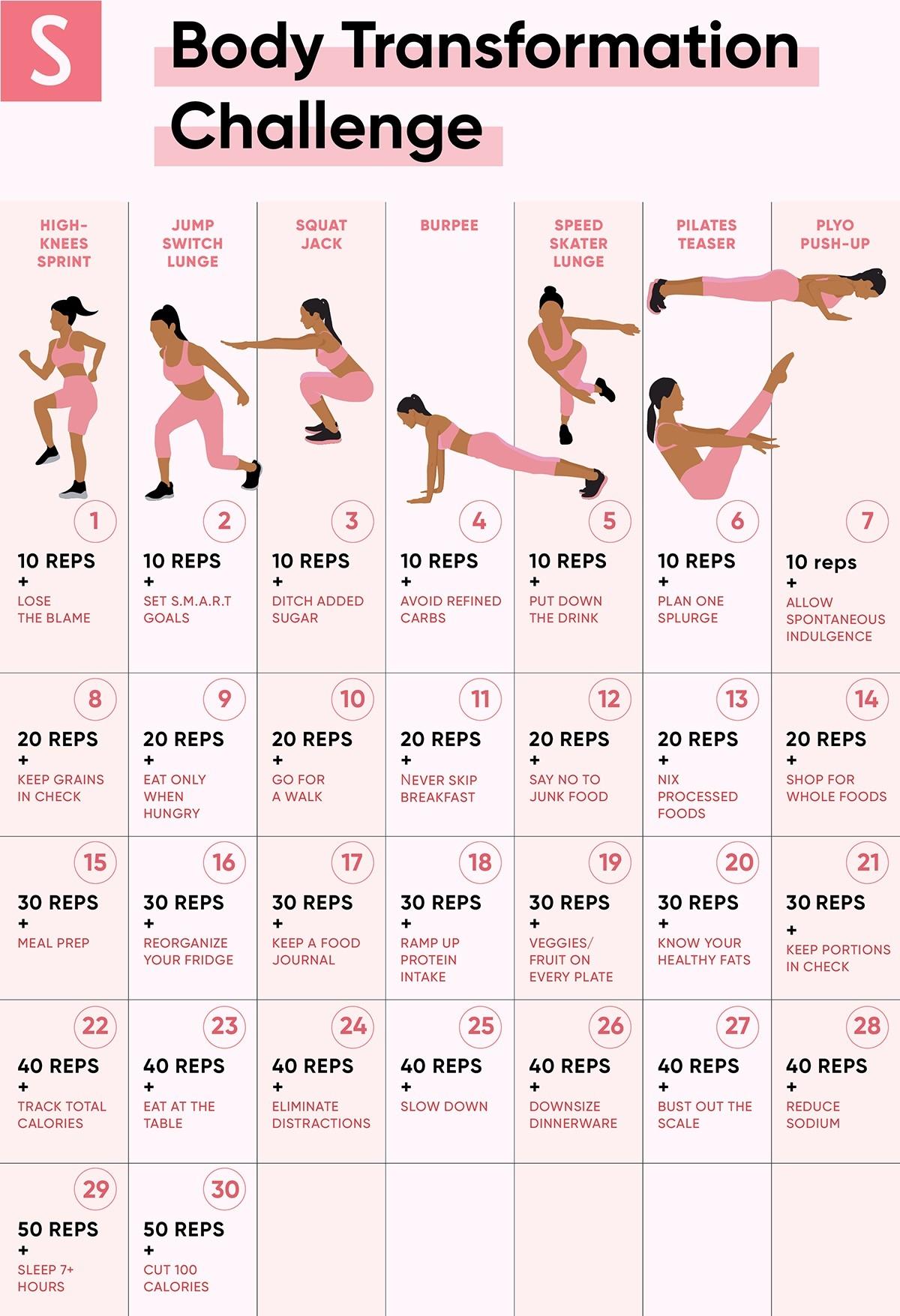 30 Exercise Chart For Beginners Template Calendar Design