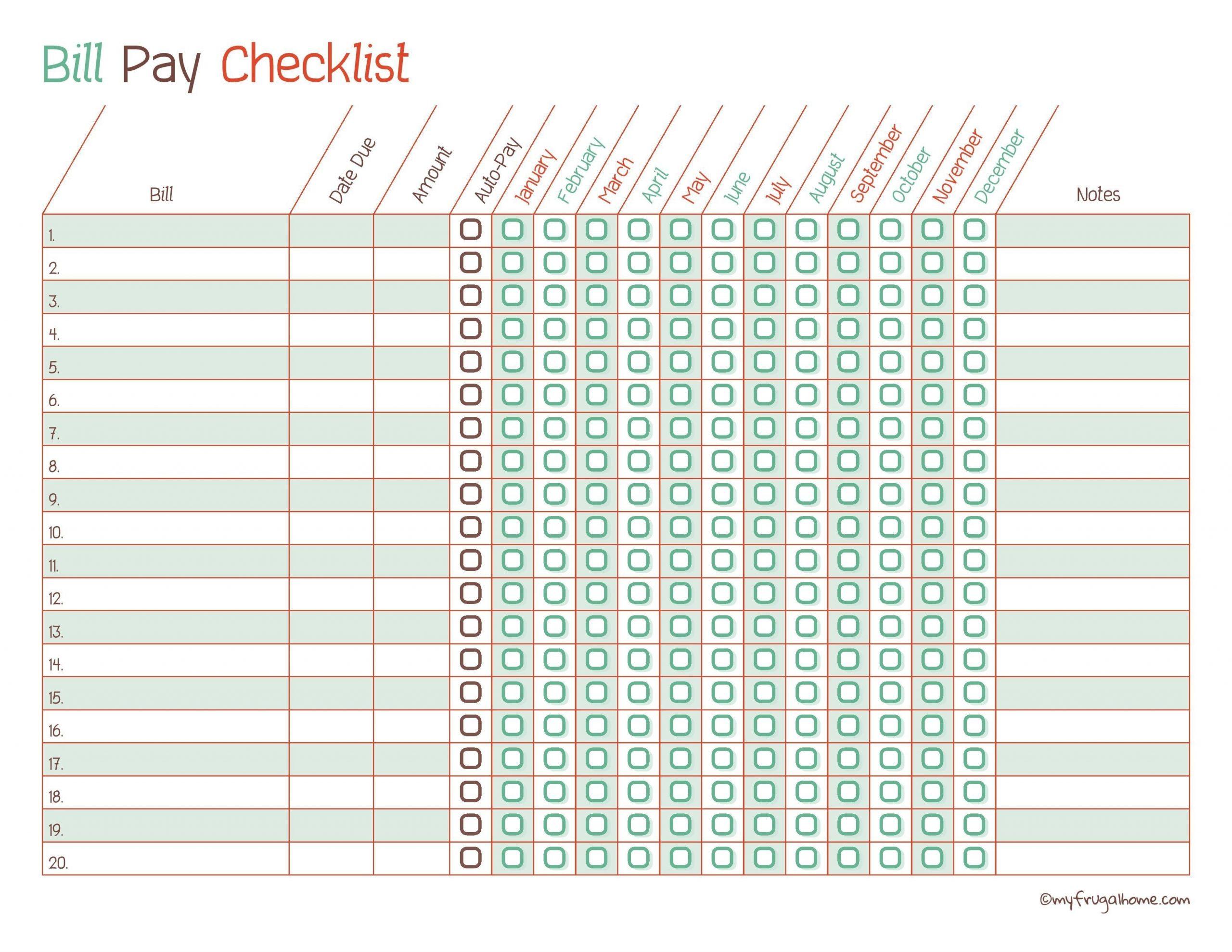 Bill Paying Worksheet Template Calendar Design