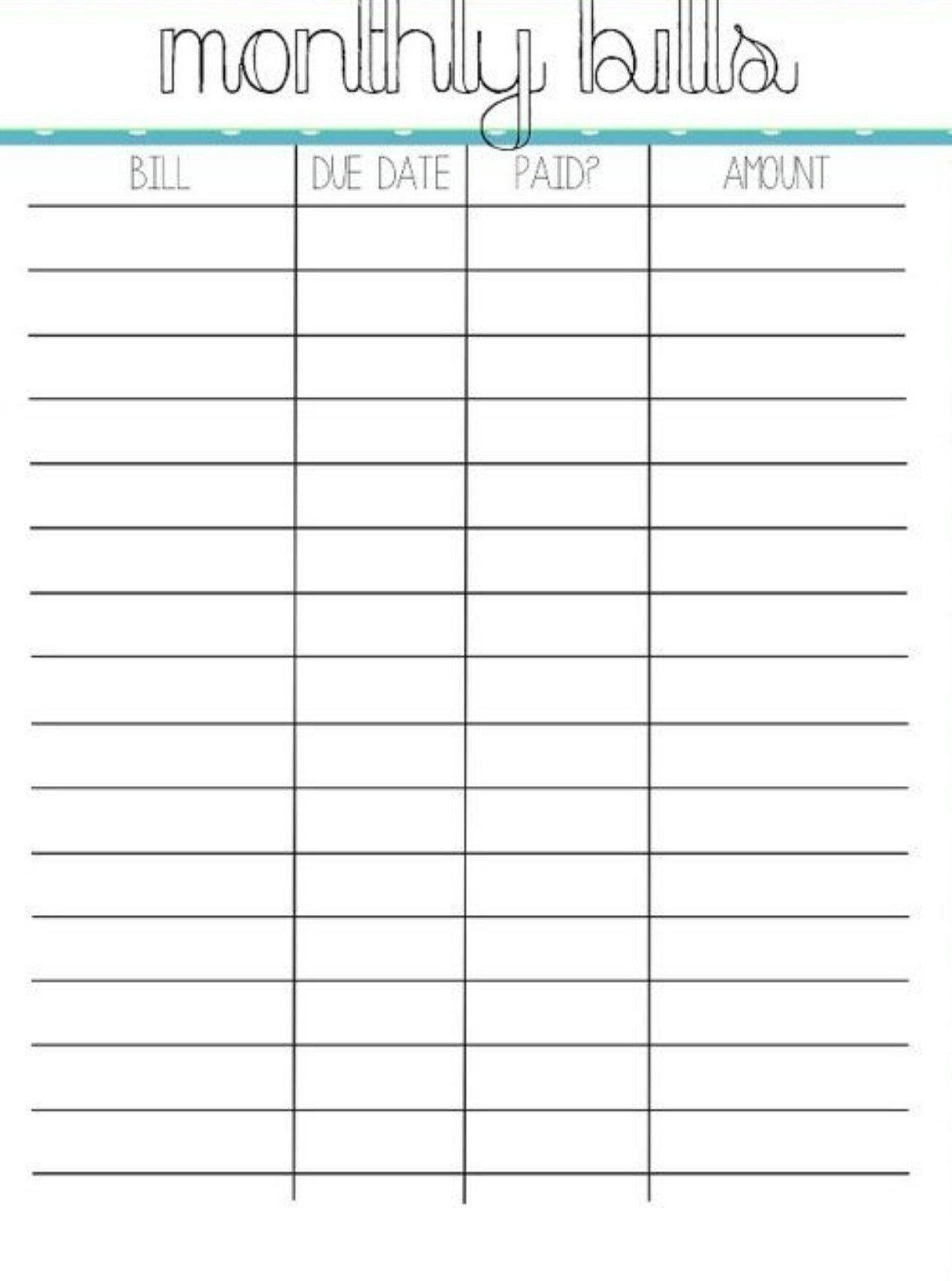 Monthly Pay Bills Worksheet Template Calendar Design