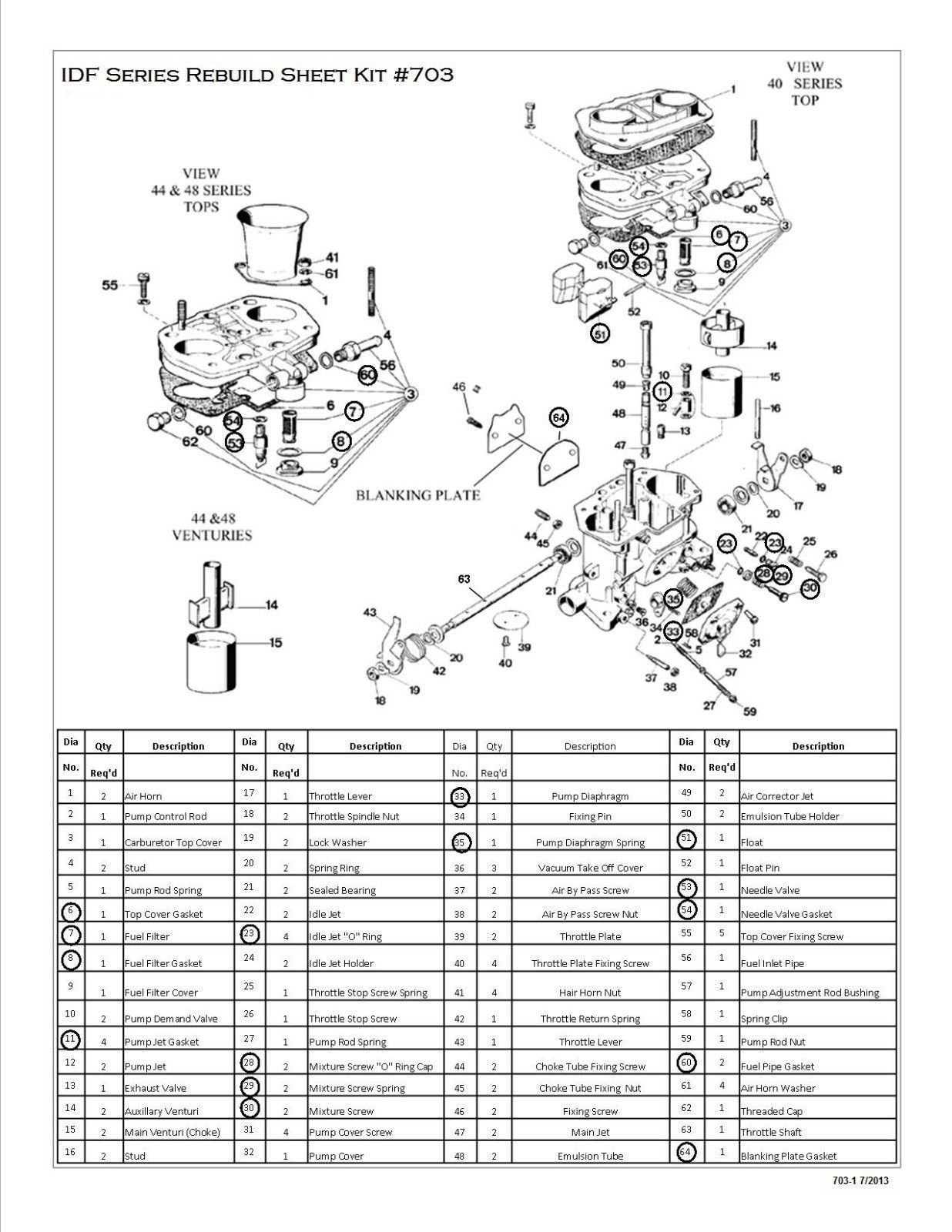 Pair Weber 40 44 48 Idf Carb Rebuild Overhaul Kits With