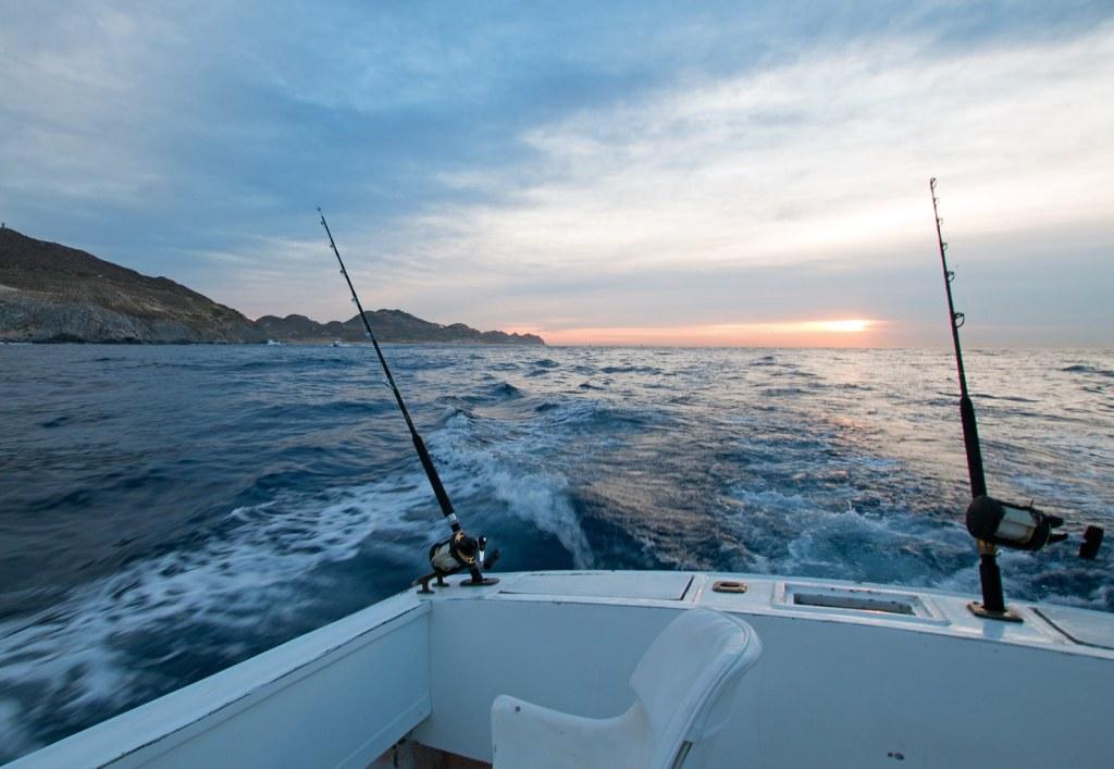 Sunrise view of fishing rod