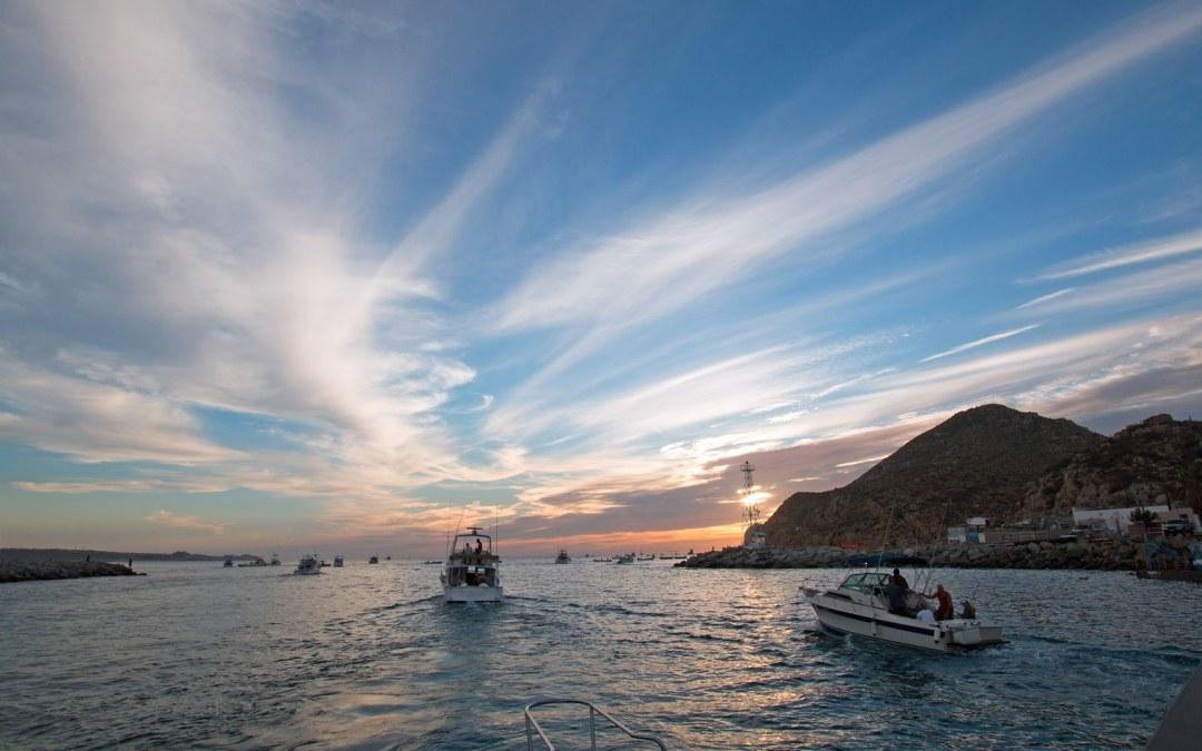 Fishermans sunrise view of fishing boat