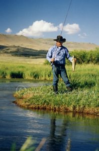Fishing in southwest Montana winter-grazed pasture