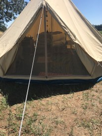 The outside of the tent
