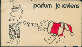 Worth Parfum Je Reviens postcard