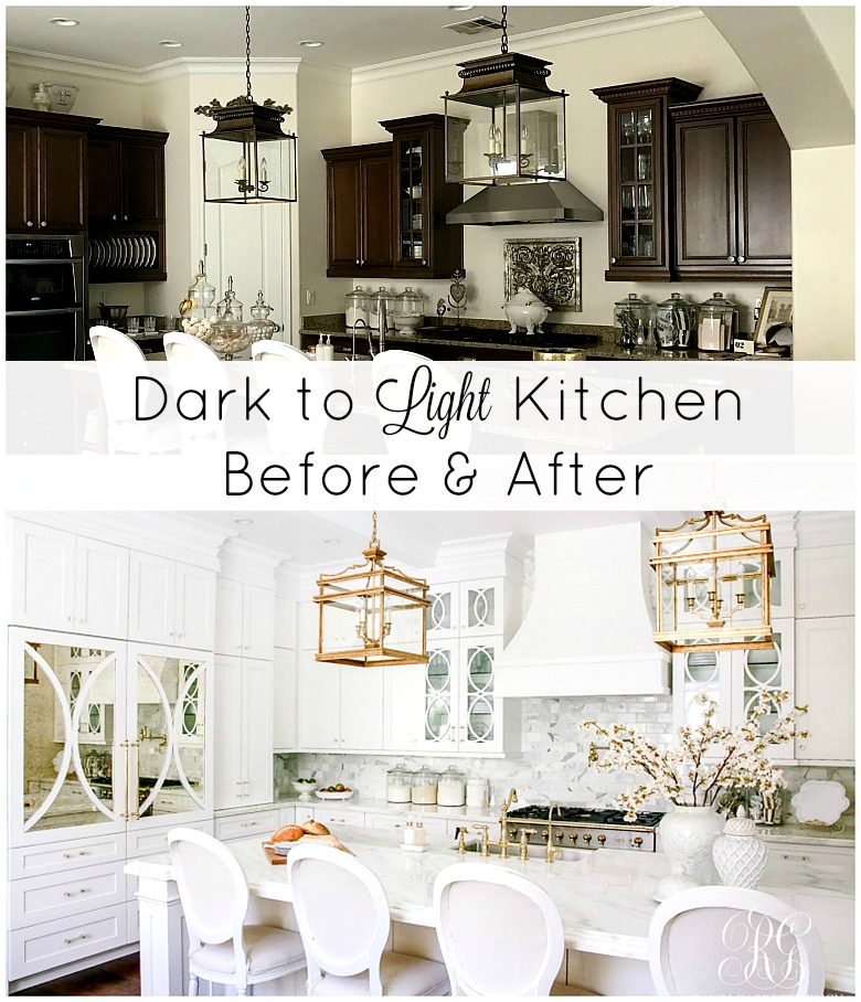 Dark to Light Kitchen Before and After   Elegant White Kitchen Reveal For a full detailed sources list click here  There are also some sources  listed throughout this post  there are affiliate links used in this post  for your