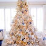 Elegant Blue White And Gold Christmas Tree Randi Garrett Design