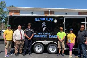 Randolph Police Donates Refurbished Trailer to High School Blue Devils Marching Band