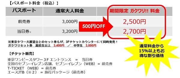 「東京ワンピースタワー」学割
