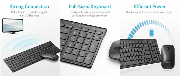 Anker 2.4GHz ワイヤレスキーボード & マウスセット【Windows OS機器対応 / 持ち運びに便利なデザイン / 長時間稼働 / テンキー付】