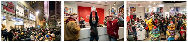 任天堂のオフィシャルショップ「ニンテンドーニューヨーク」には多くのファンが集まり、開店までのカウントダウンを行う人々