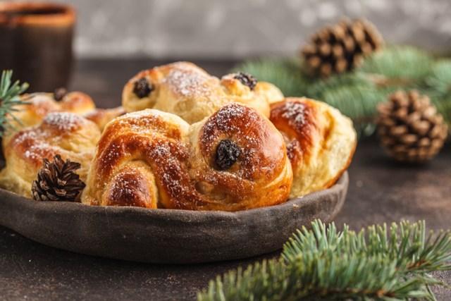 Traditional Swedish Christmas saffron buns (lussebulle or lussekatt). Swedish christmas.
