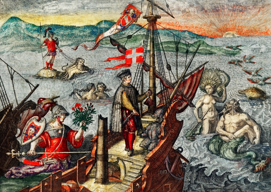 Christopher Columbus illustration from Grand voyages (1596) by Theodor de Bry (1528-1598).
