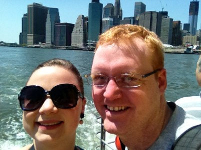 Luke and me on the New York Water Taxi. The harbor cruise was one of our favorite things... and the weather was perfect.