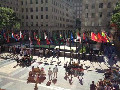 Rockefeller Plaza from inside NBC.