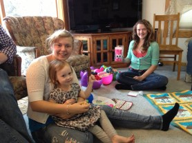 Nieces Mary, Becca and Lea after the Easter Egg game.