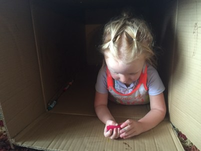 The classic cardboard box house.