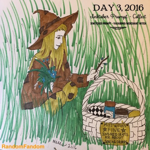 Witch in ragged clothes and hat plucks grass and flowers to put in basket of ingredients