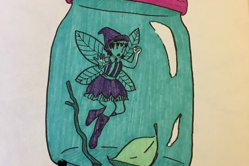 A fairy witch is trapped in jar and banging on the glass
