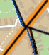 A map snippet of Lahti with a network overlayed