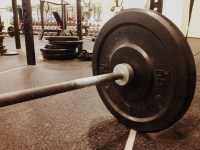 barbell with weights at CrossFit gym