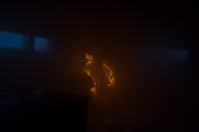 flames in a burning building