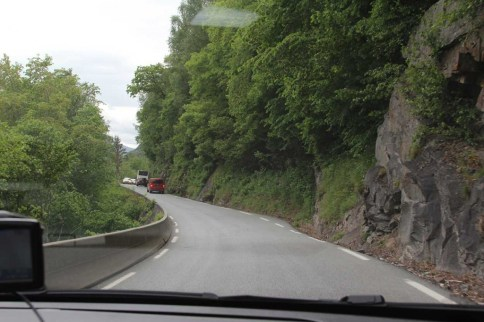 Highway West to Bergen, Norway. Single Lane