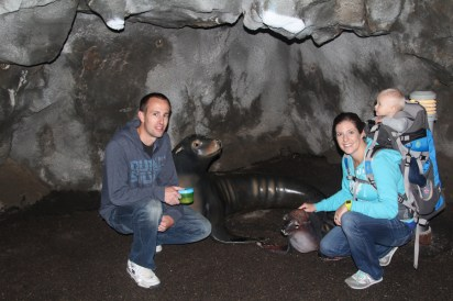 Picture with the sea lion display. Kind of corny, but the volunteer wanted to take it. We couldn't say no.