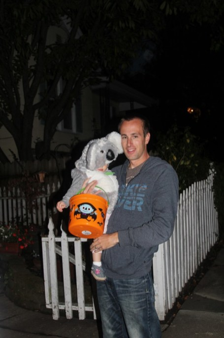 Hitting the streets with Dad in Petaluma for trick or treating