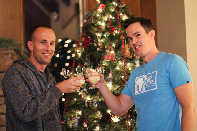 """Josh and his brother, with the famous """"National Lampoons Christmas Vacation Cups"""""""