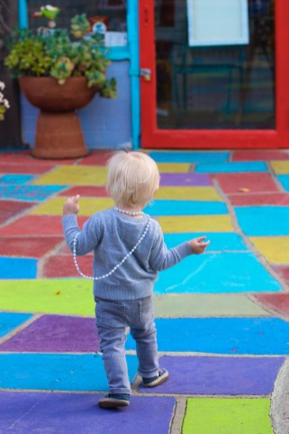 Walking the colourful brick road