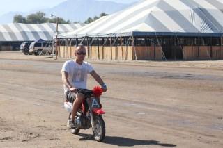 Josh, driving Andreas dirt bike.