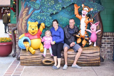 Hanging with the Pooh gang.