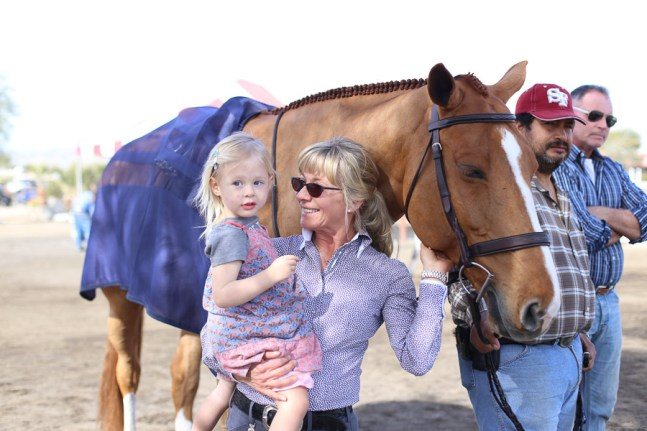 Meeting grandmas jumping horse.