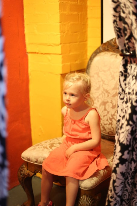 Princess Ry upon her throne at the 2nd hand store.