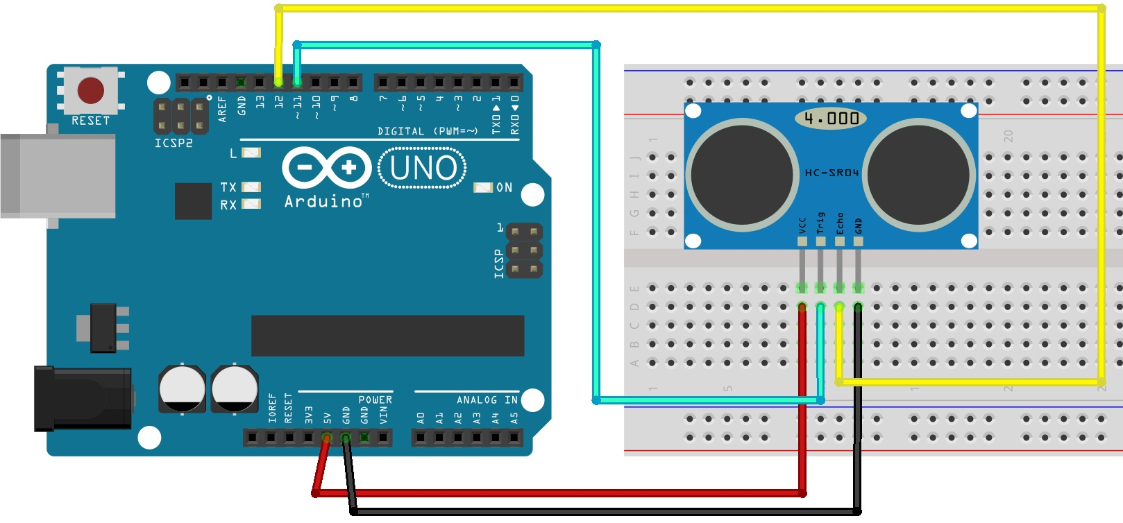 Complete Guide For Ultrasonic Sensor Hc Sr04 With Arduino Random The We Will Use In This Circuit Is A Tcs3200 Color Following Table Shows Connections You Need To Make
