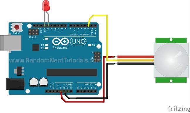 arduino with pir motion sensor random nerd tutorials rh randomnerdtutorials com PIR Sensor Circuit Motion Sensor Wiring Diagram