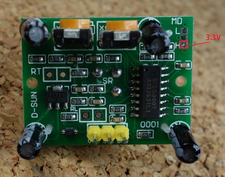 Modifying Cheap PIR Motion Sensor to Work at 3 3V | Random
